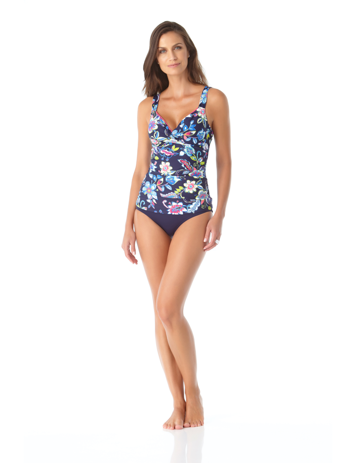 Anne Cole® Holiday Paisley Underwire Tankini Swimsuit Top -Multi - Front