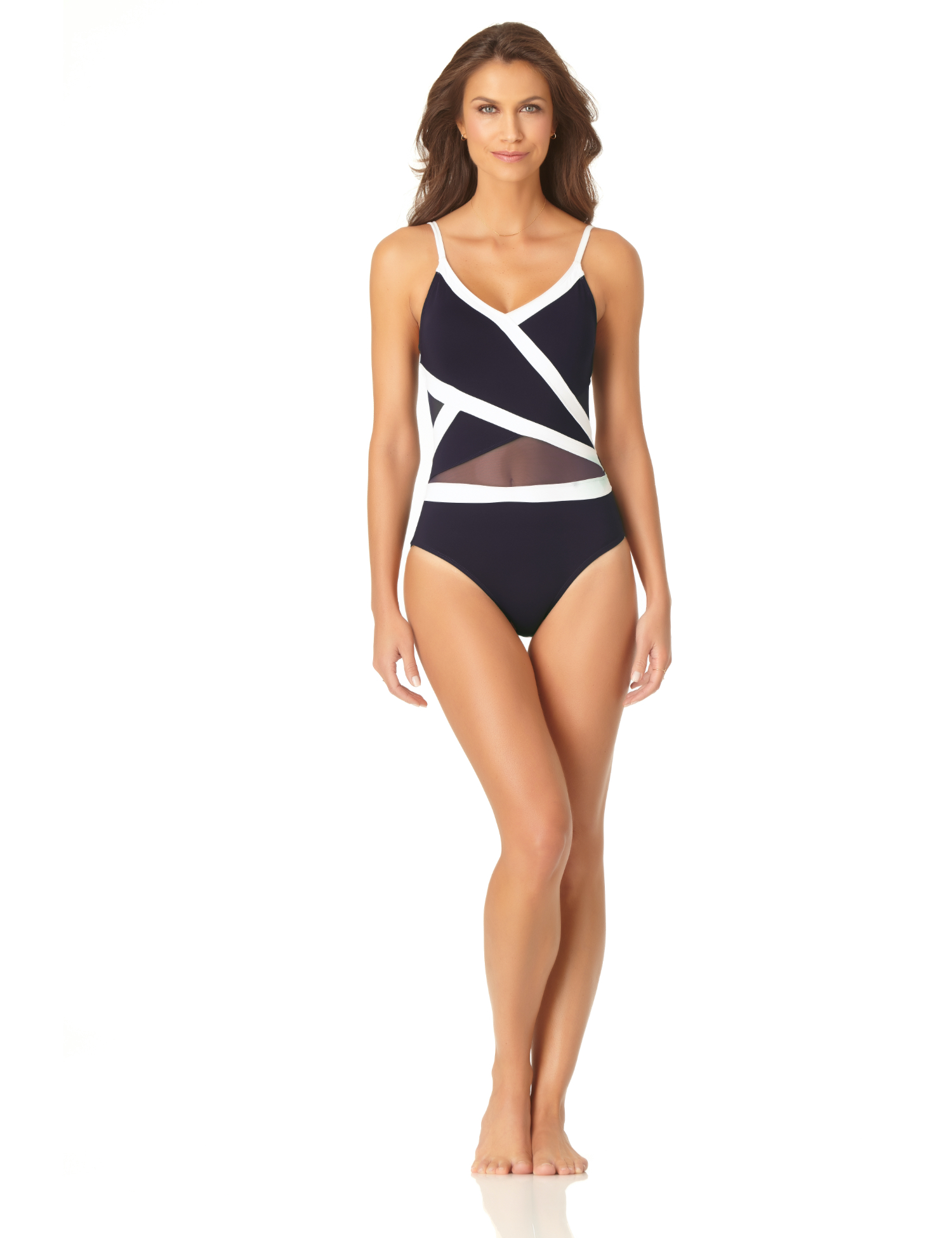 Anne Cole® Colorblock Mesh One Piece Swimsuit - Navy/White - Front