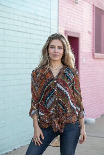 Foil Mix print Tie Front Shirt - Copper - Front