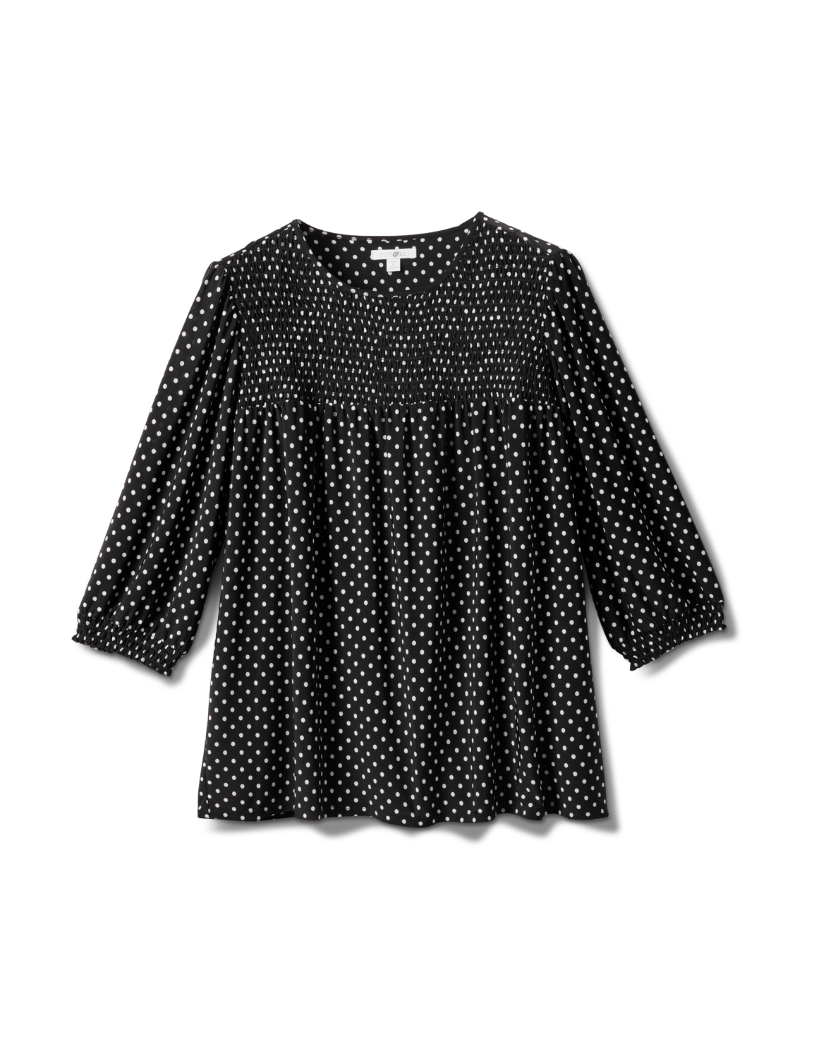 3/4 Sleeve Dot Smocked Knit Top - Plus -Black/White - Front