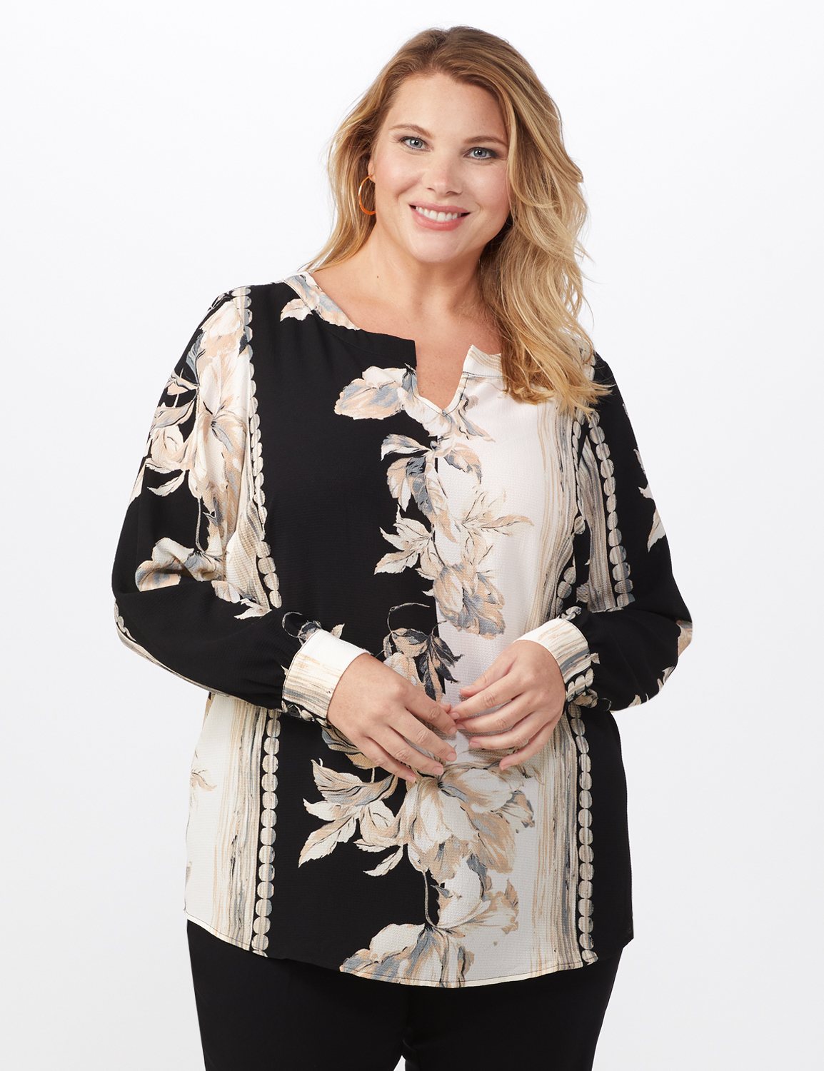 Long Sleeve Placed Floral Blouse -Black/Natural - Front