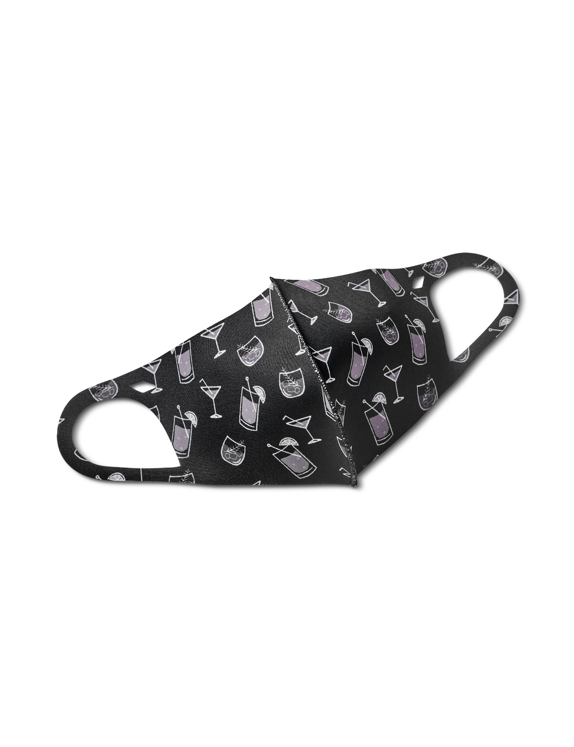 Cocktails Anti-Bacterial Fashion Face Mask - Black/Grey - Front
