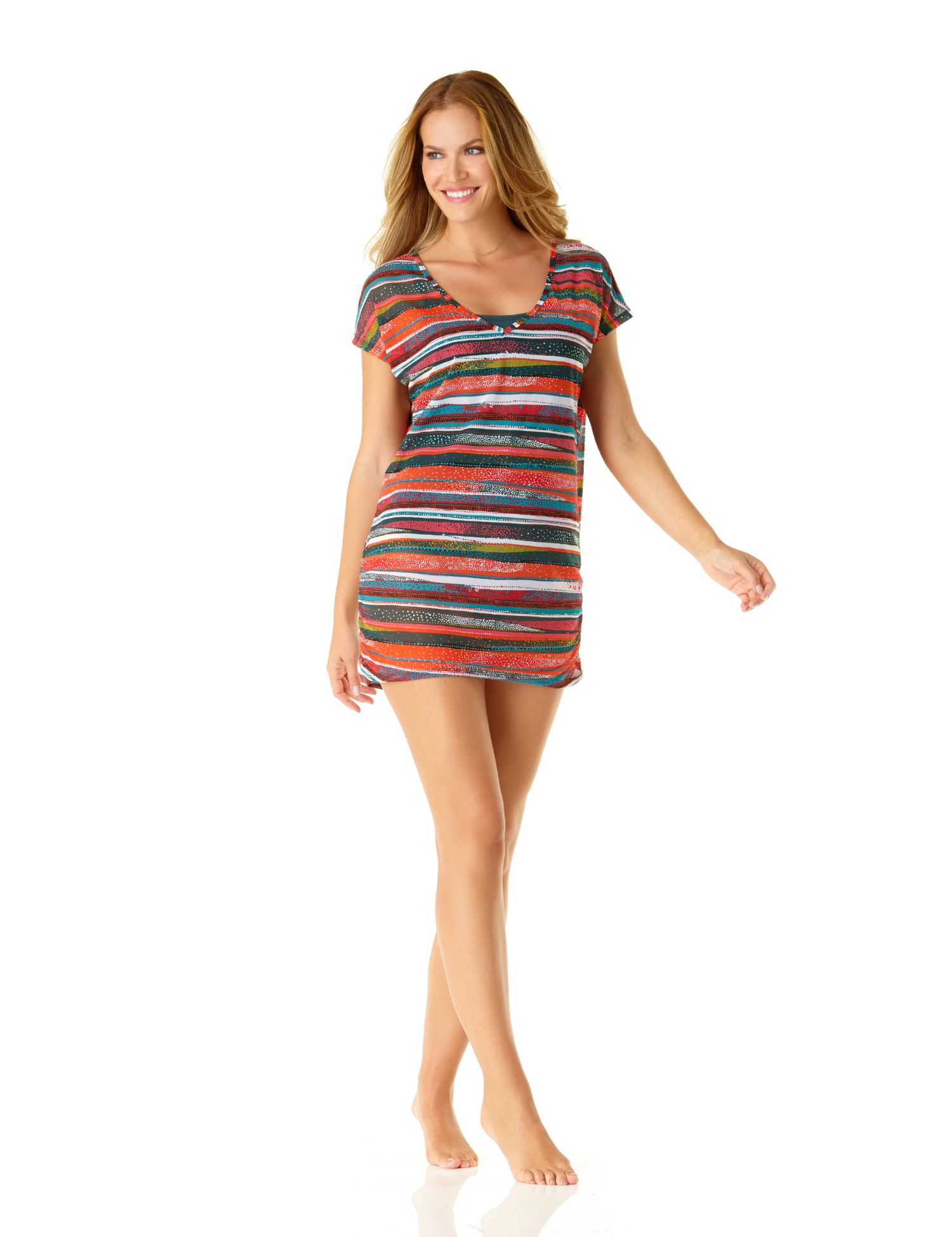Anne Cole® Sand Stripe Mesh Swimsuit Cover-Up Tee - Multi - Front