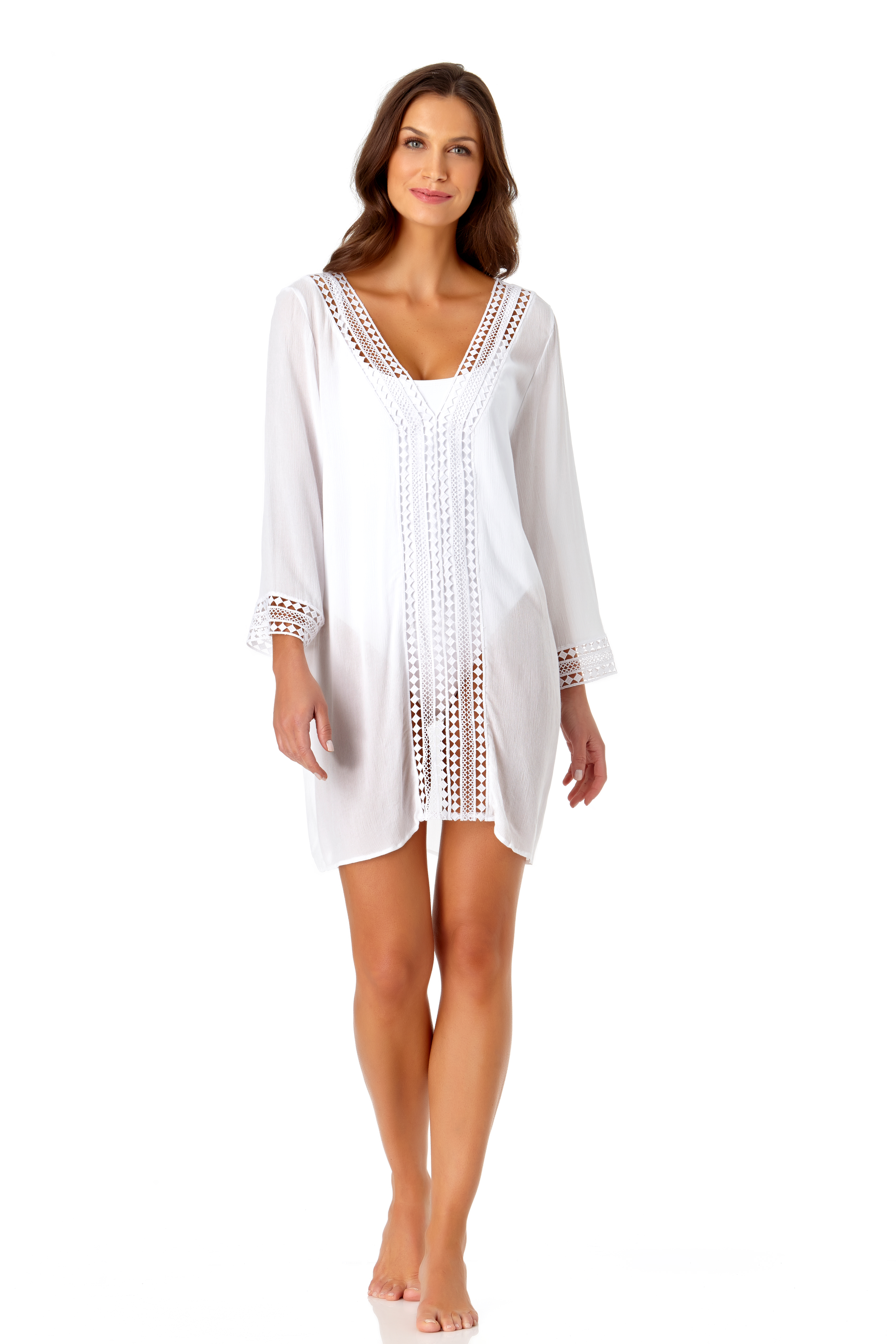 Anne Cole® Crochet Mixer Swimsuit Cover-Up -White - Front