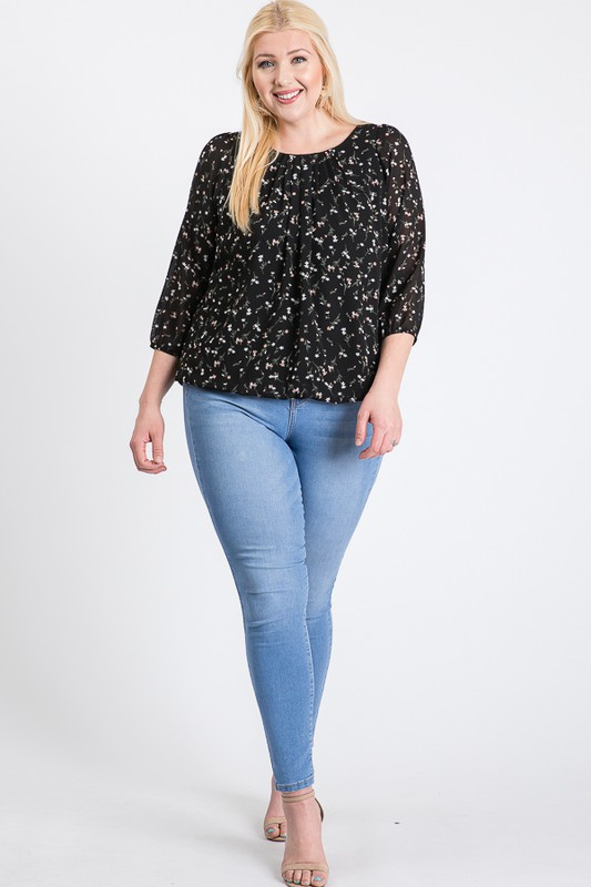 Floral Long Sleeve Top -Black - Front