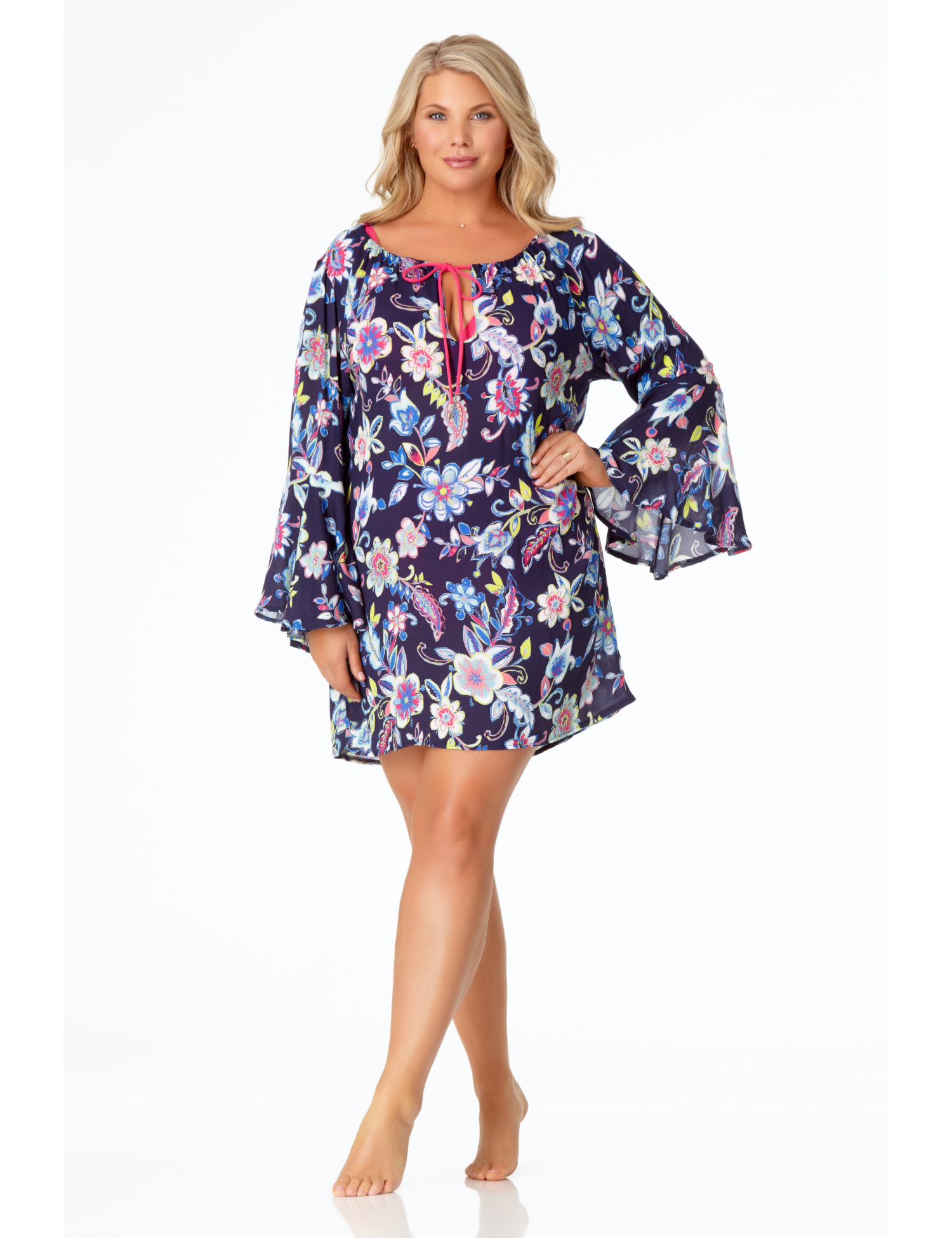 Anne Cole® Holiday Paisley Lace-Up Tunic Swimsuit Cover-Up -Multi - Front