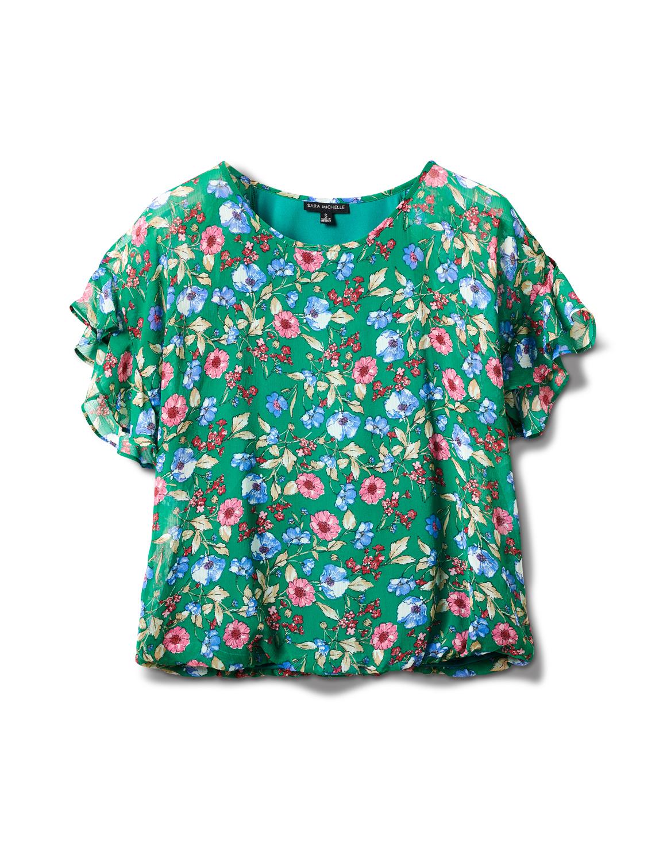 Floral Cold Shoulder Bubble Hem Blouse -Green - Front