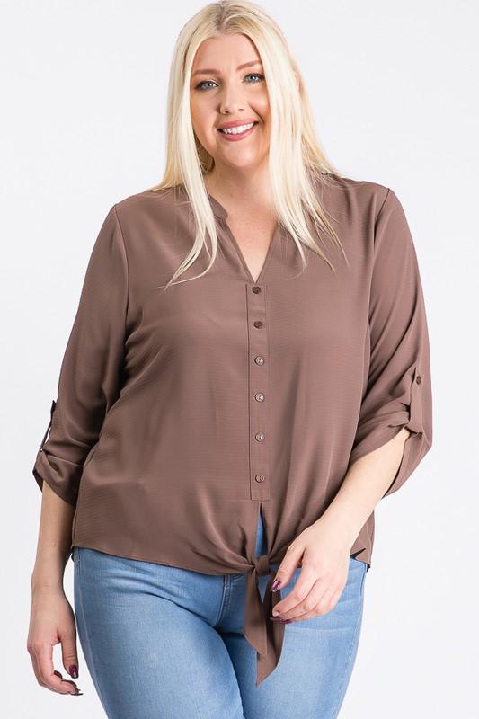 V-Neck Buttoned Shirt -Mocha - Front