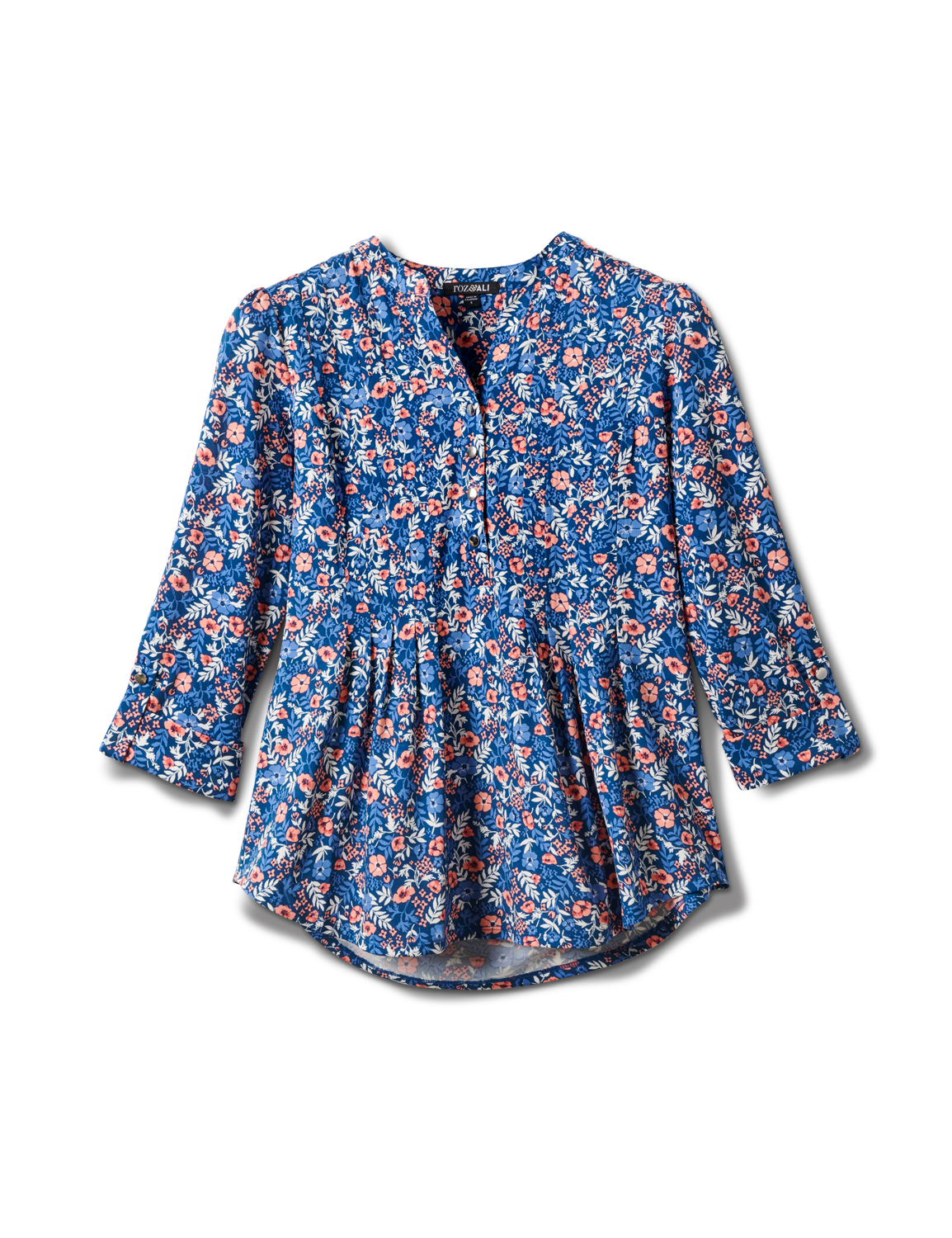 3/4 Bouquet Ditsy Popover Knit Top - Misses - Navy - Front