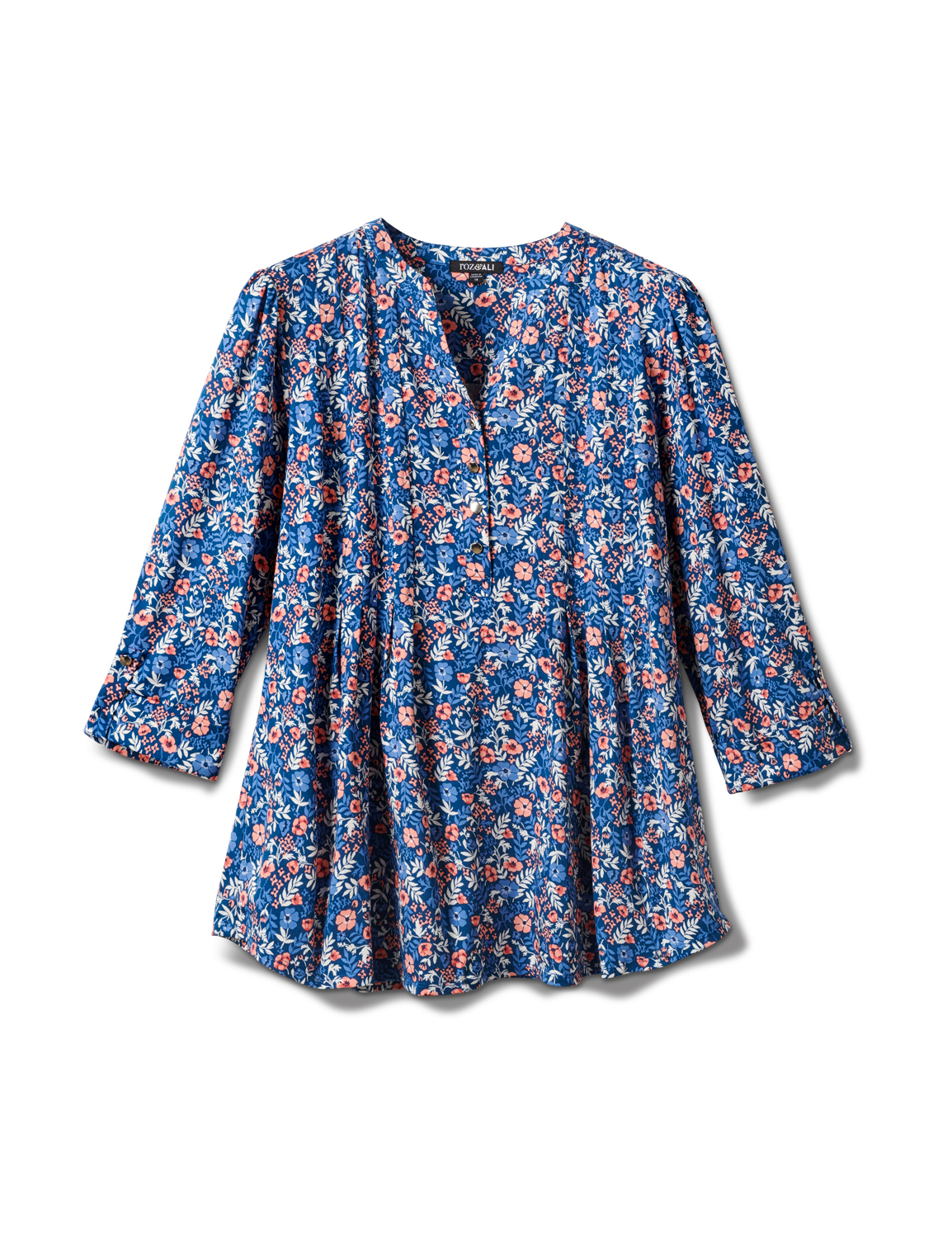 3/4 Bouquet Ditsy Popover Knit Top - Plus -Navy - Front