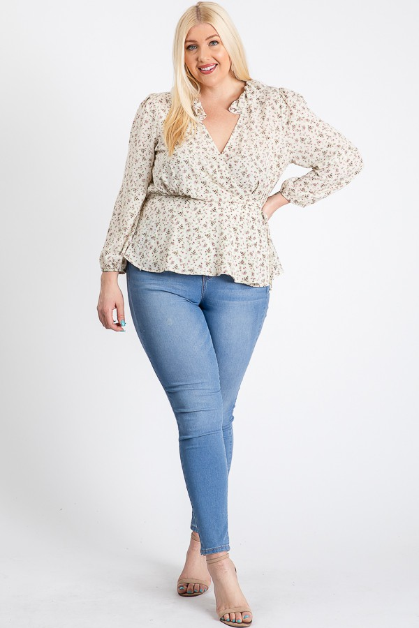 Business Or Pleasure Floral Wrap Top - Ivory - Front