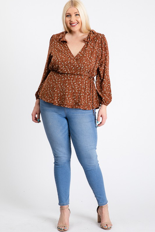 Business Or Pleasure Floral Wrap Top - Rust - Front