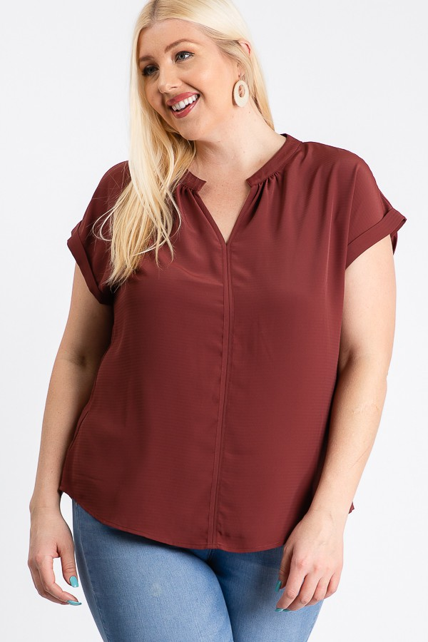 Much Needed Short Sleeve Top -Rust - Front