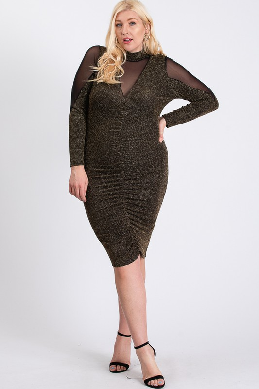 To Wow Glittery Dress -Gold - Front