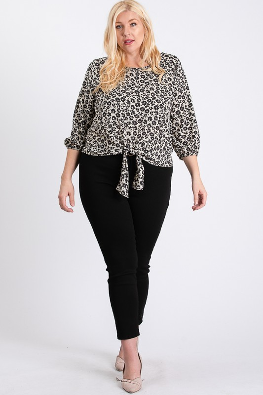 Flowery Bottom Tie Shirt -Black - Front