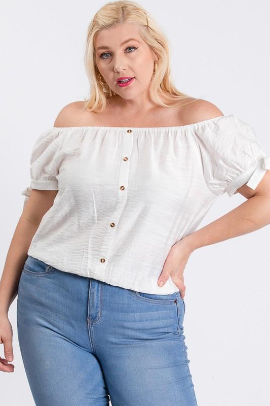 Off-Shoulder Short Sleeve Top - White - Front