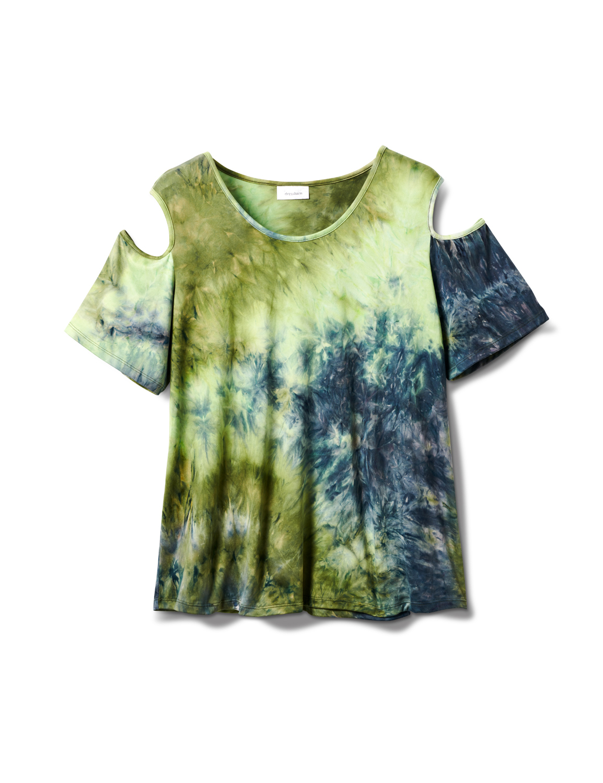 Denim Friendly Tie Dye Cold Shoulder -Navy/Green - Front