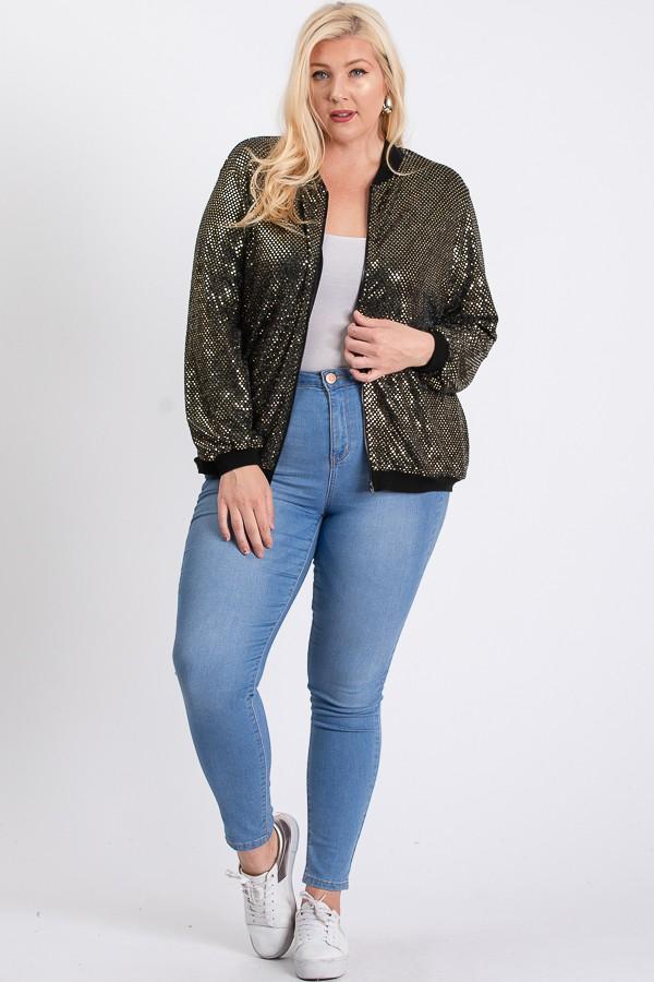Bling Bling Sequin Jacket -Gold - Front