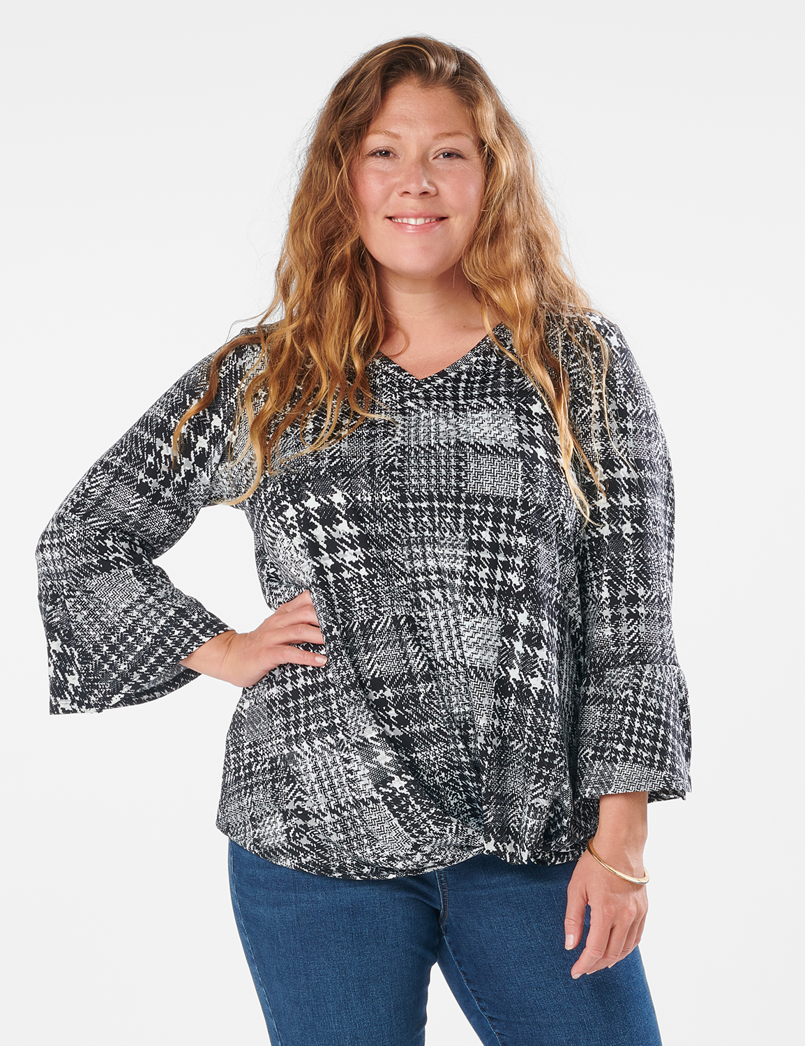 Houndstooth Twist Front Knit Top - Plus - Black/White - Front