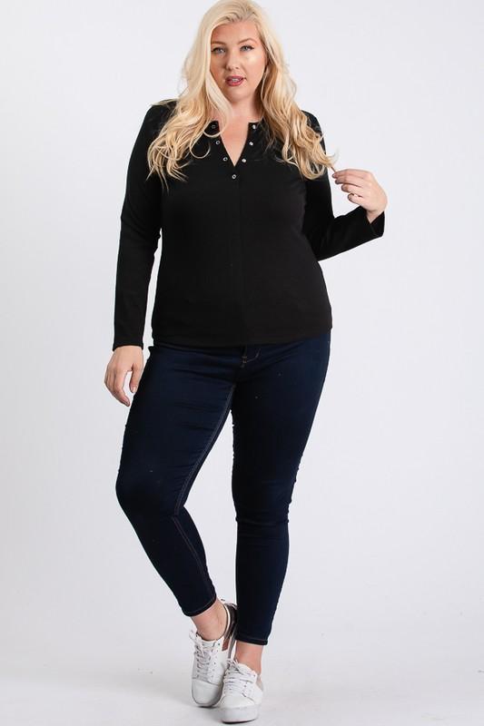 V-Neck Plain Sweater -Black - Front