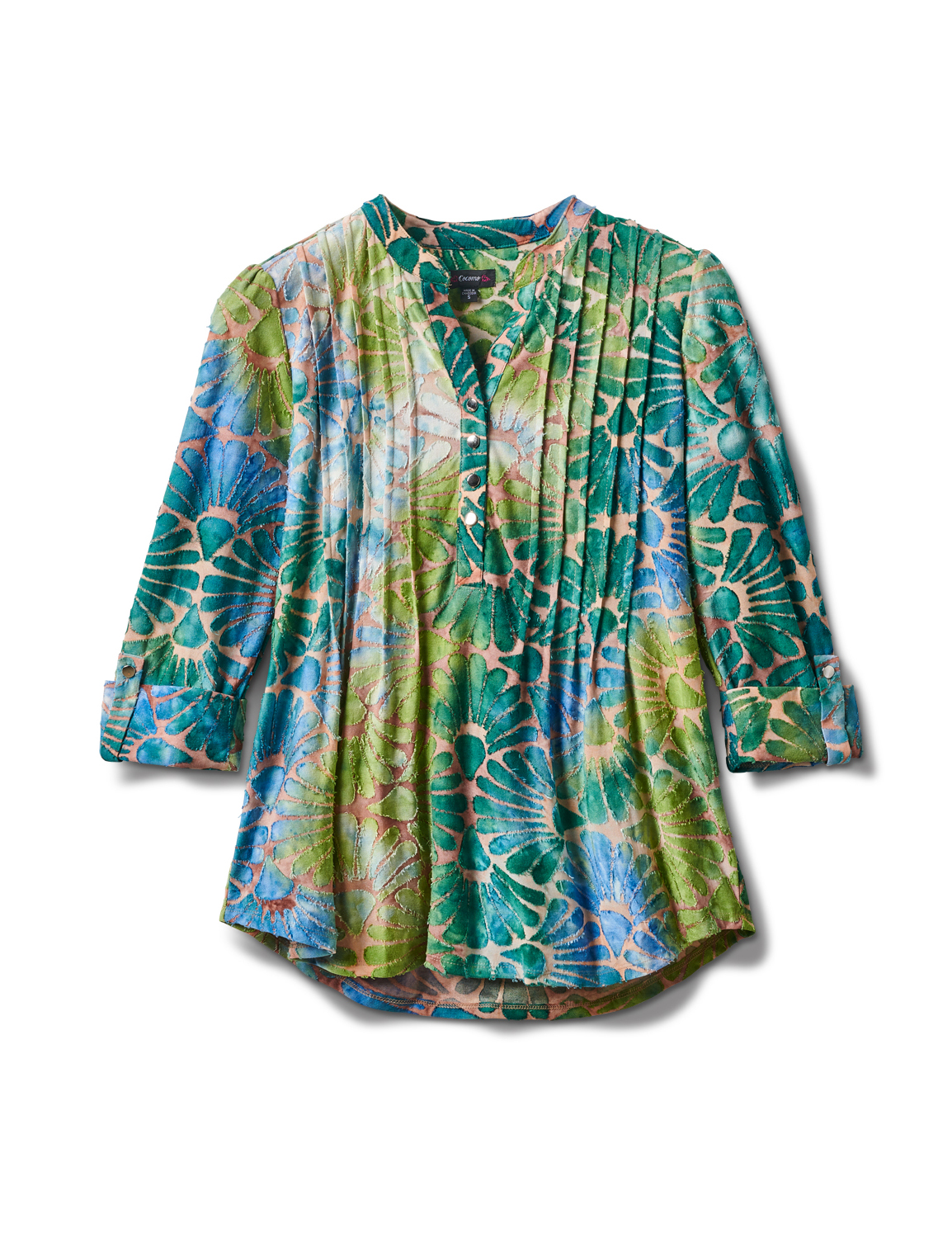 Tie Dye Clip Jaquard Popover Knit Top -Blue/Green - Front