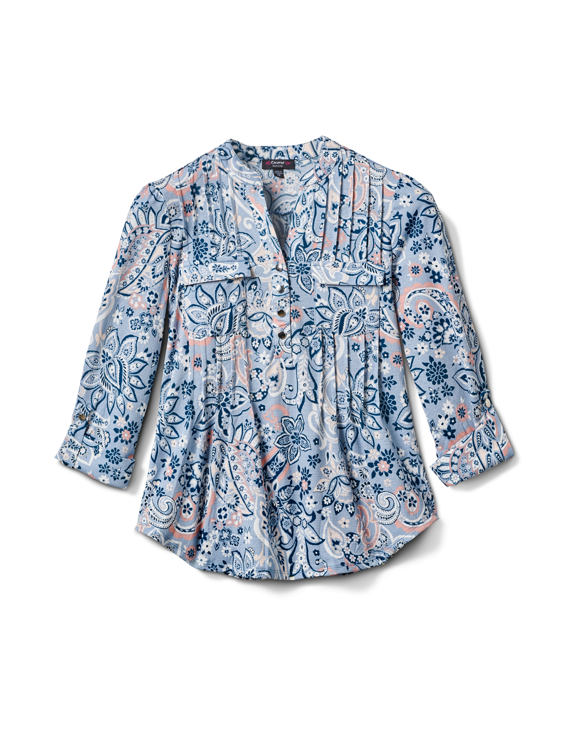Floral Paisley Pintuck Knit Popover-Petite -Peri - Front