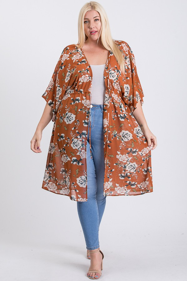 Light Chiffon Floral Cardigan/ Cover-up -Rust - Front