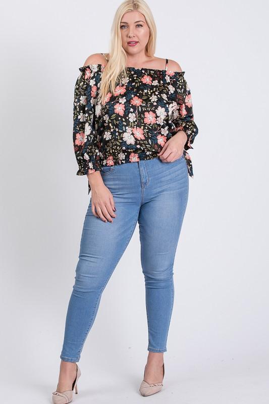 Satin Floral Off-Shoulder Top -Black - Front