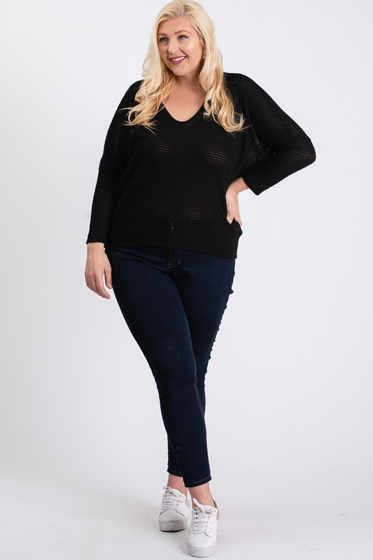 Waffle-Knit Jersey Top -Black - Front