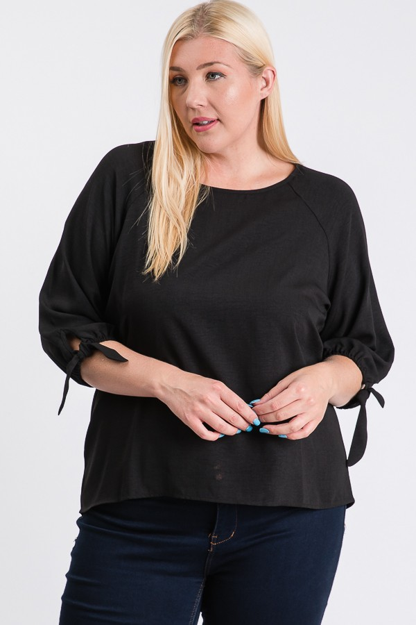 Daily Use Poly Linen Top -Black - Front
