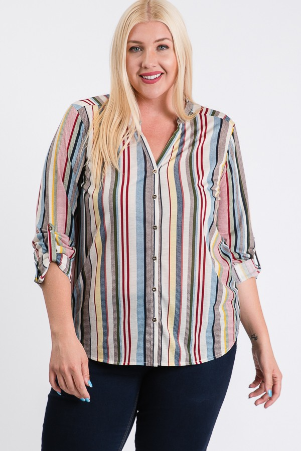 Relaxed Multi-Stripe Shirt -Black / Rust - Front