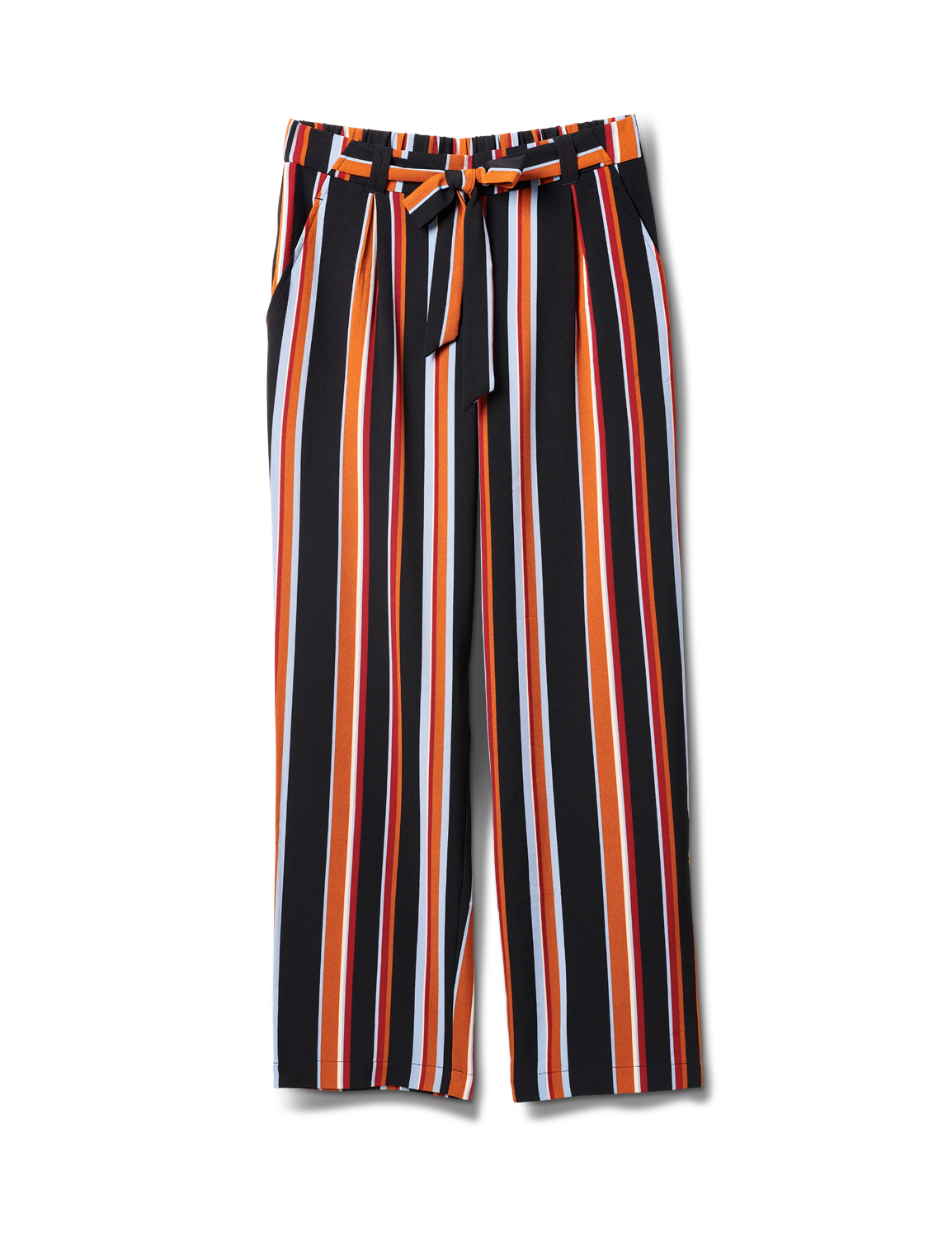 Striped Elastic Waist Soft Pant with Tie Belt - Multi - Front
