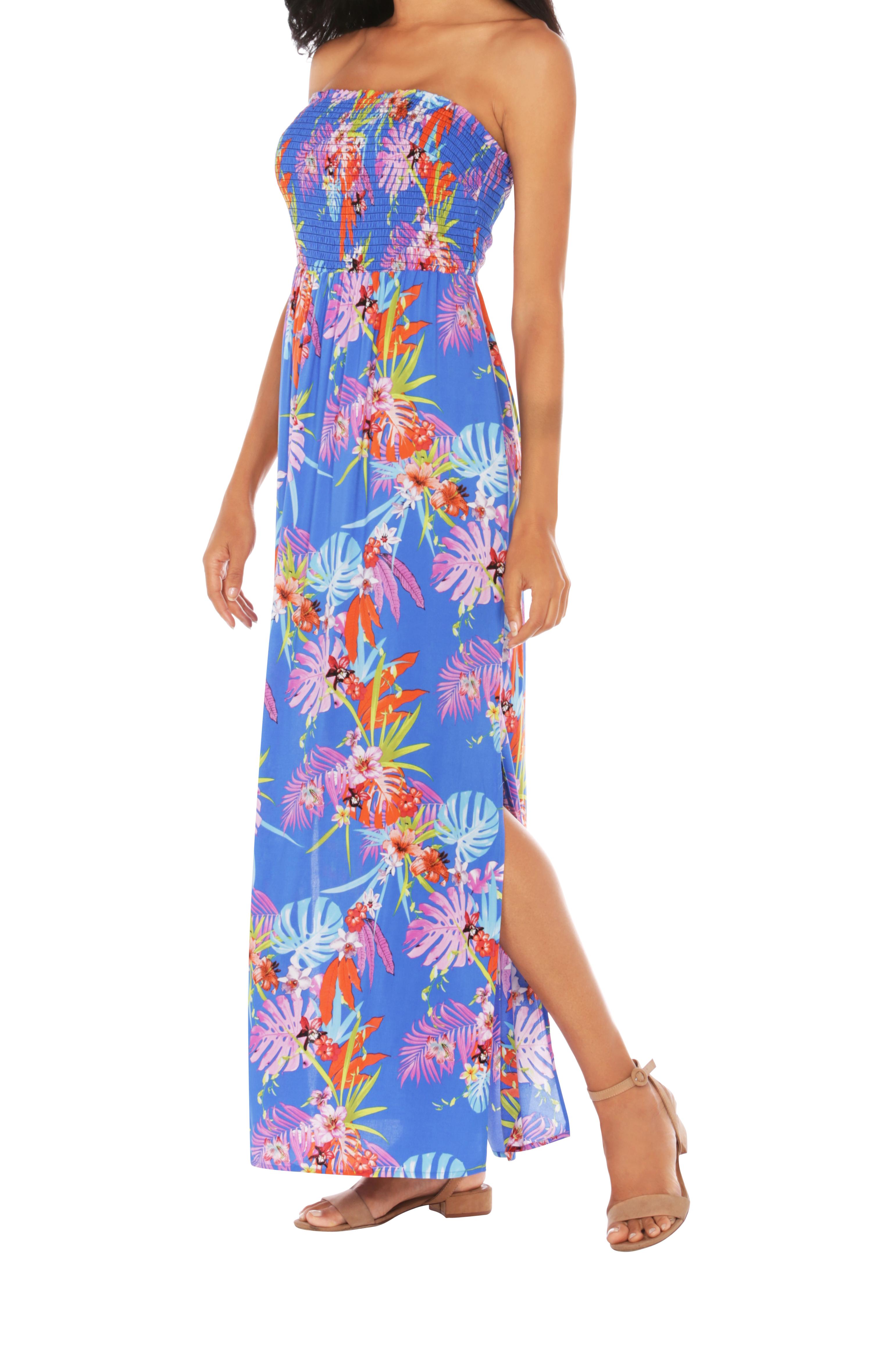 Caribbean Joe® Smocked Maxi Dress - Blue Jewel - Front