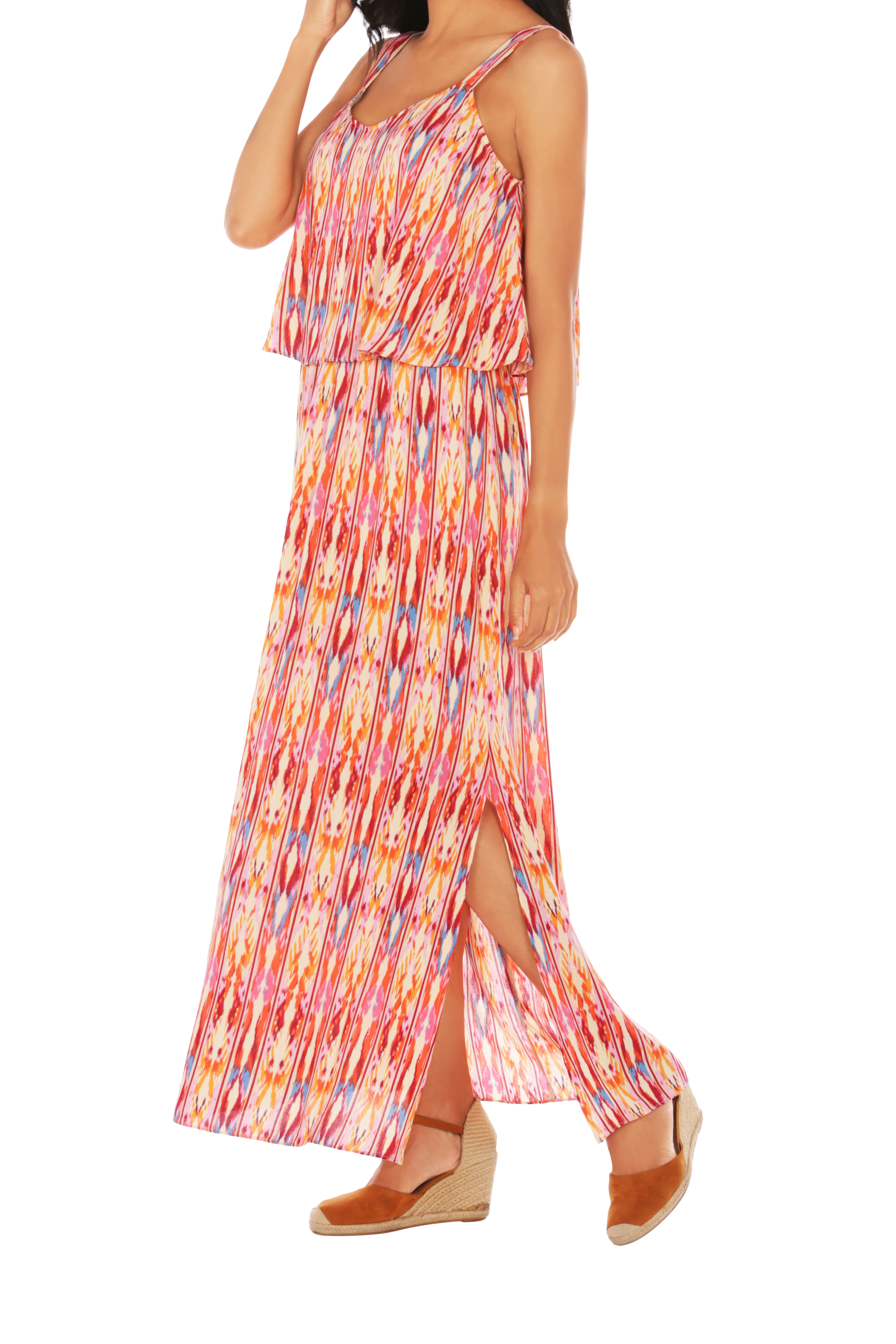 Caribbean Joe® Double Layer Maxi Dress - Bittersweet - Front