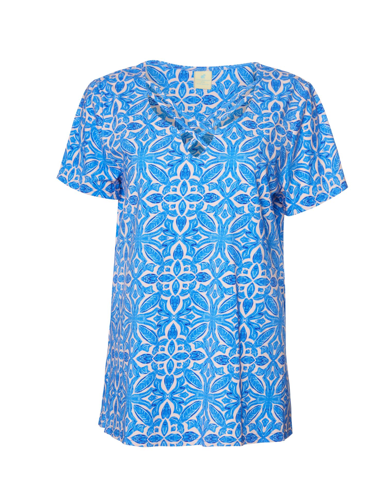 Caribbean Joe® Criss Cross Knit Top - Blue - Front