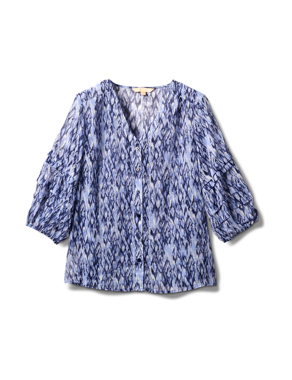 V Neck Button Front Blouse - Light Blue/Navy Blazer - Front