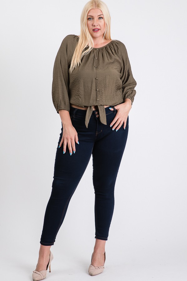 Shirred Top W/ Bottom Tie -Olive - Front