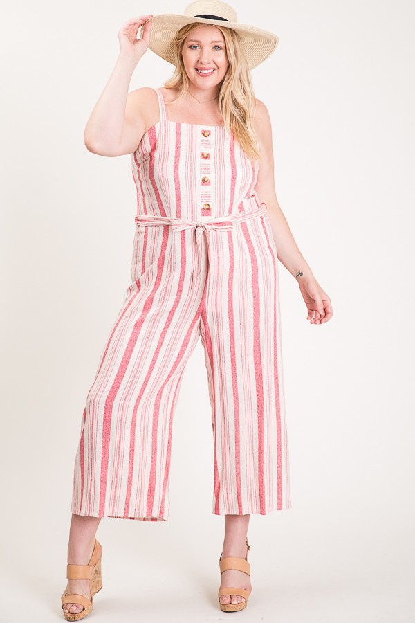 Step Into Summer Jumpsuit -Pink - Front