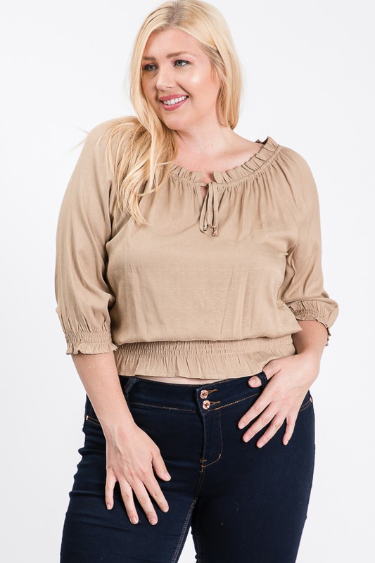 Off-shoulder x Smocking Cropped Top -Khaki - Front