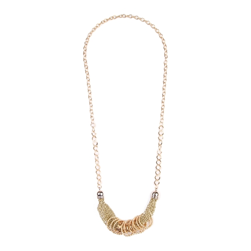 Simple Gold/Chain Mesh Necklace -Gold - Front