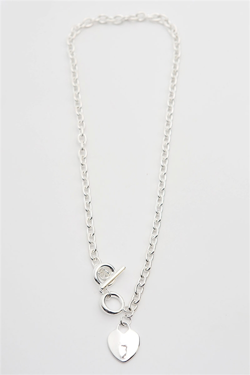 Silver Heart Necklace -silver - Front
