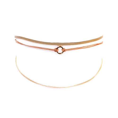 Everyday Look Gold x Light Brown Choker - Gold - Front