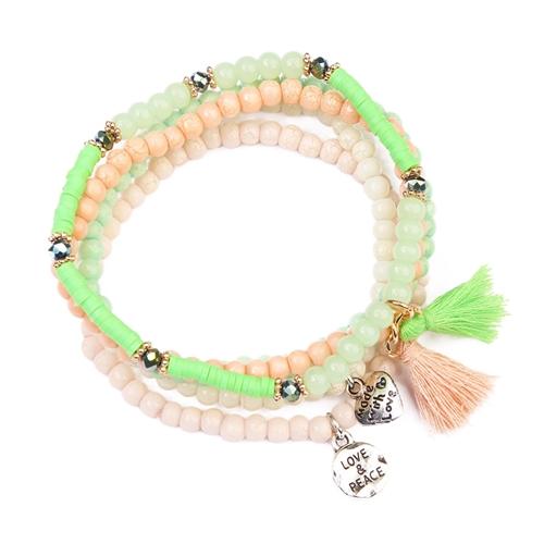 Beads Meet Tassel Bracelet -Green - Front