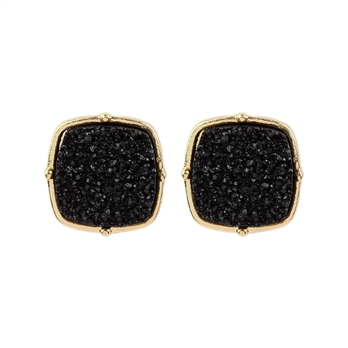 Sparkly Druzy Post Earrings -Black - Front