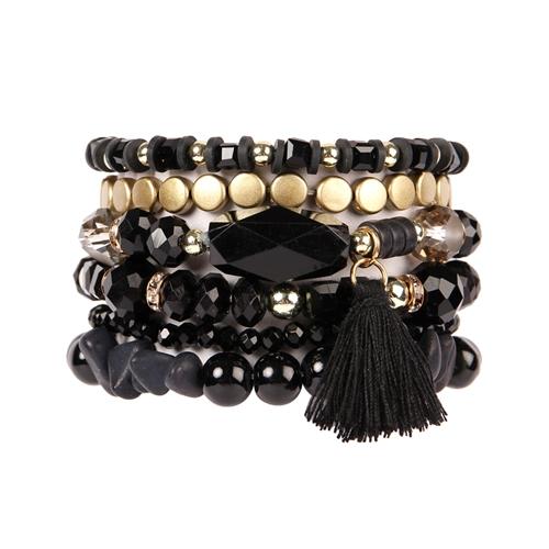 Black Boho Charm Tassel Bracelet -black - Front