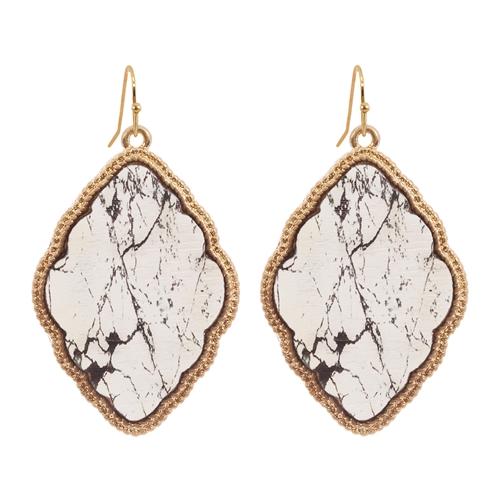 Elegant quatrefoil Earrings -Gold - Front