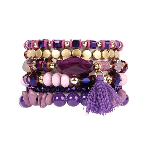 Purple Lover Boho Charm Tassel Bracelet -Purple - Front