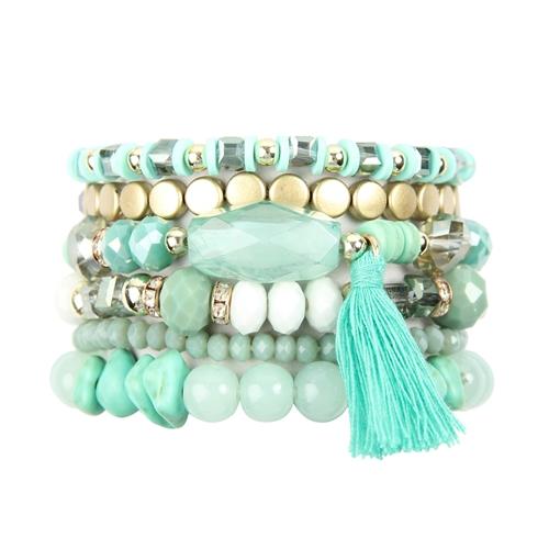 Aquamarine Loving Boho Charm Bracelet -Green - Front