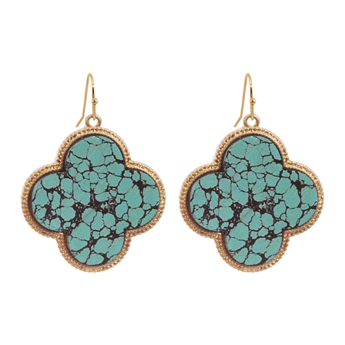 Artistic Clover Earrings -Turquoise / Black - Front
