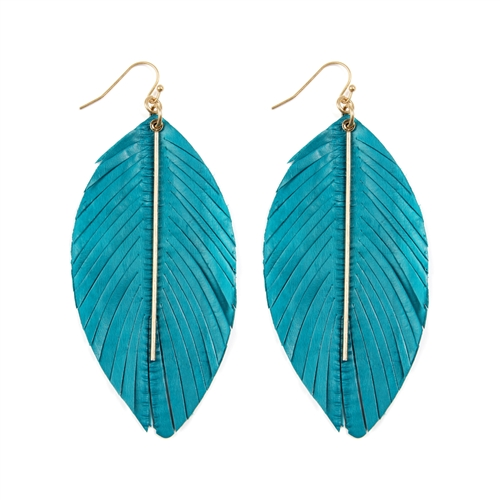 Turquoise Metal Feather Earrings - Turquoise - Front